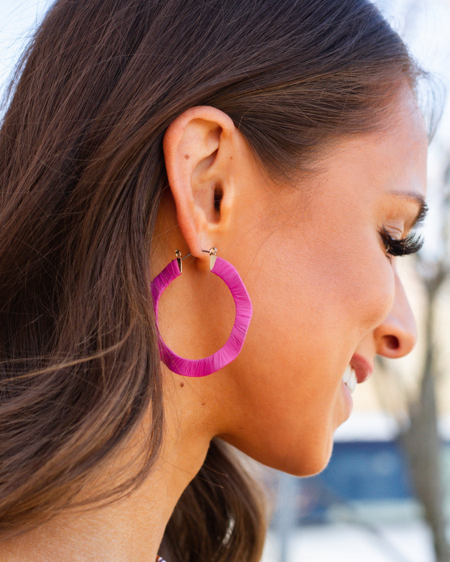 Meg Hoop Earrings - Hot Pink