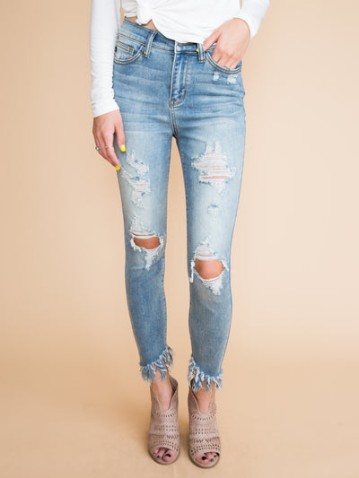 Melania Distressed Frayed Skinny Jeans - Light Wash
