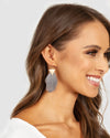 Melissa Feather Earrings - Grey