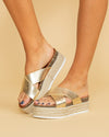 Meredith Criss Cross Flatform - Gold