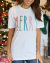 Merry And Bright Graphic Tee - Heather Grey
