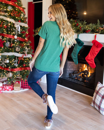 Merry Christmas Graphic Tee - Heather Green