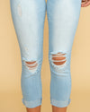 Michelle Cuffed Distressed Jean - Light Wash
