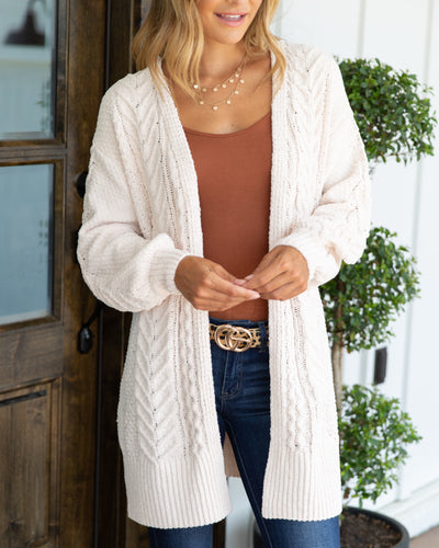 Minding My Business Cardigan - Cream