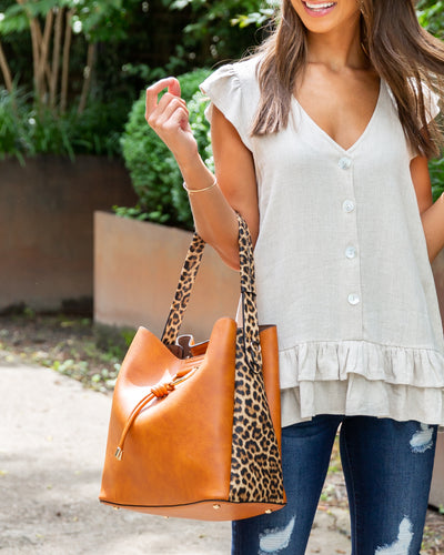 Molly Cheetah Handbag - Cognac