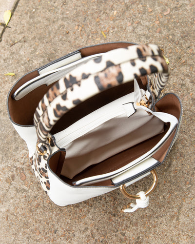 Molly Leopard Handbag - White