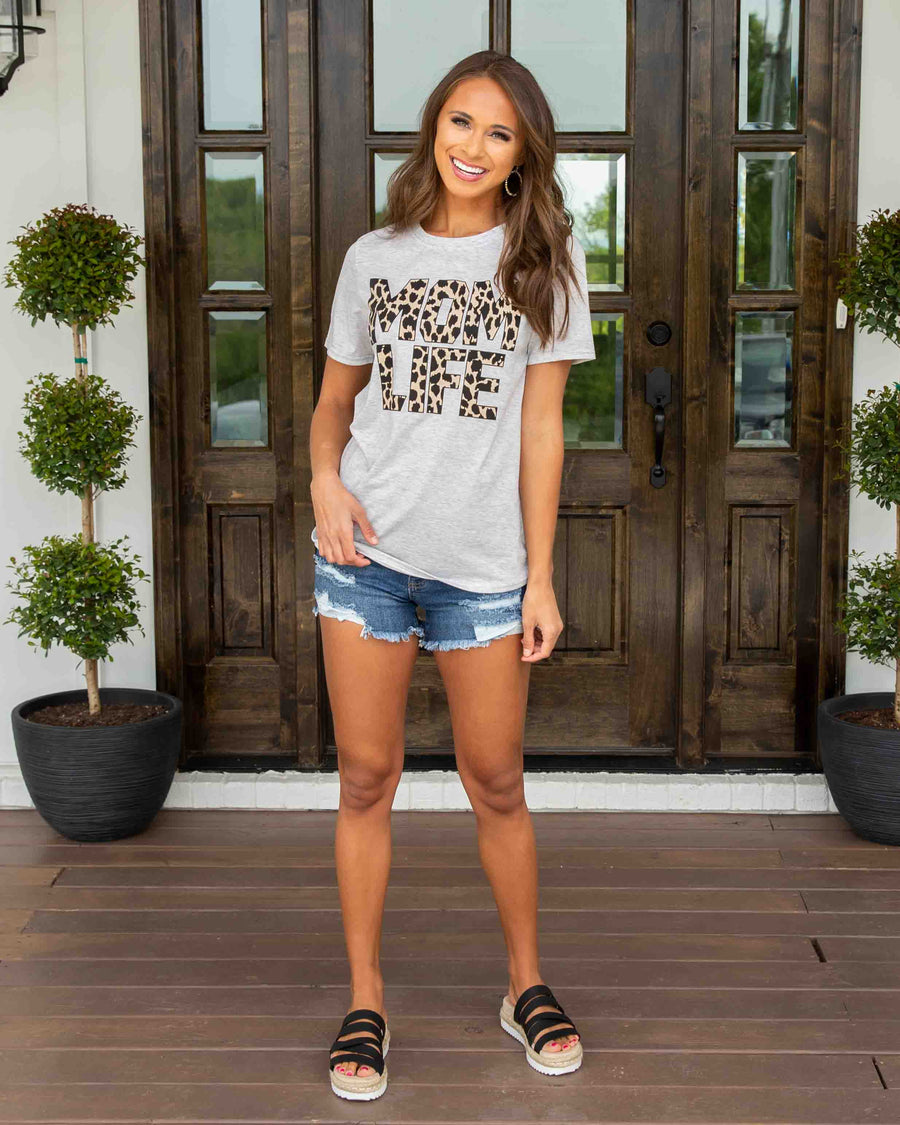 Mom Life Leopard Graphic Tee - Heather Grey