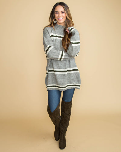 Moments To Remember Oversized Stripe Sweater - Grey