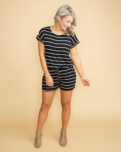 More Than A Memory Stripe Romper - Black