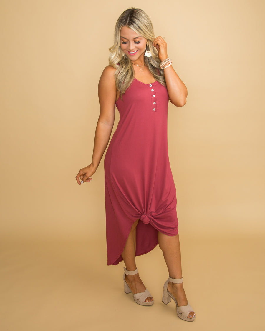 More Than The Memories Button Dress - Marsala