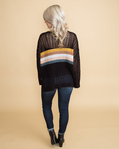 Morning In Manhattan Open Knit Color-Block Sweater - Black