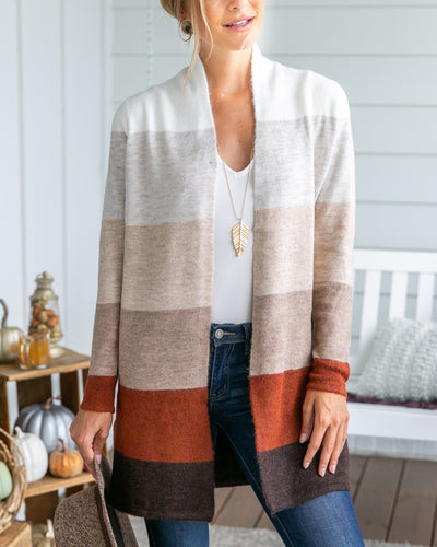 Mornings At The Cabin Cardigan - Rust Multi