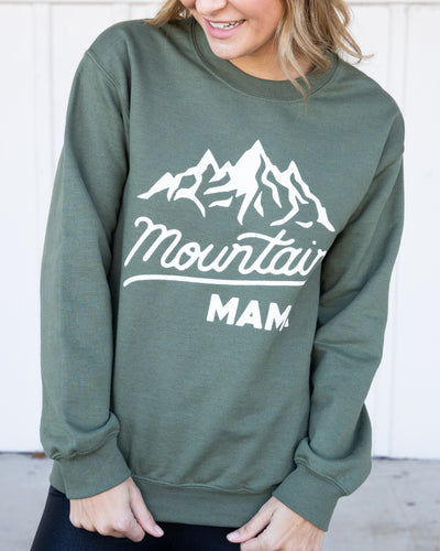 Mountain Mama Graphic Pullover - Hunter Green