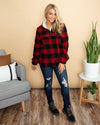 Mountain Views Plaid Pullover - Red