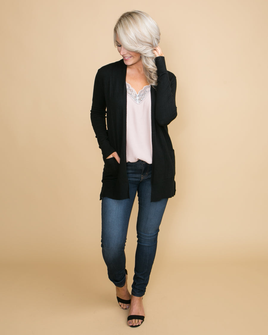 Moving Forward Cardigan - Black
