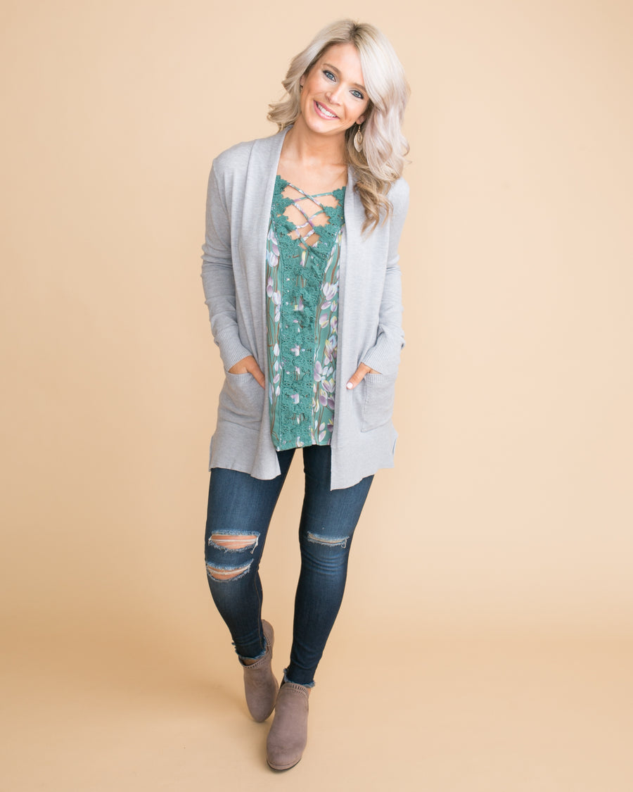 Moving Forward Cardigan - Lt Grey