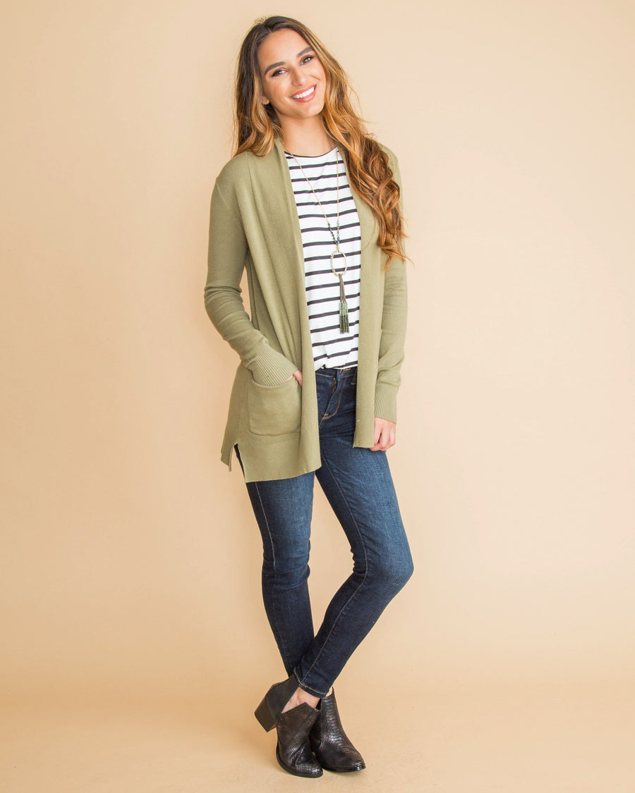 Moving Forward Cardigan - Lt Olive