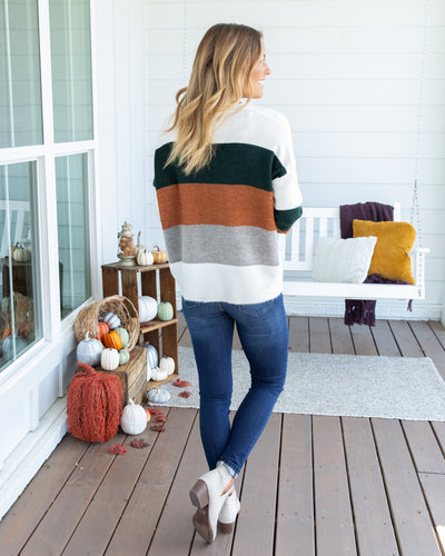 My First Chance Color-Block Sweater - Hunter Green Multi