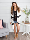 My Inspiration Varsity Stripe Cardigan - Off White