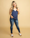 My Summer Dreams Stripe Lace Tank - Navy