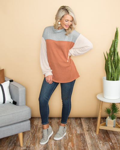 My World With You Color-Block Cowl Neck Top - Multi