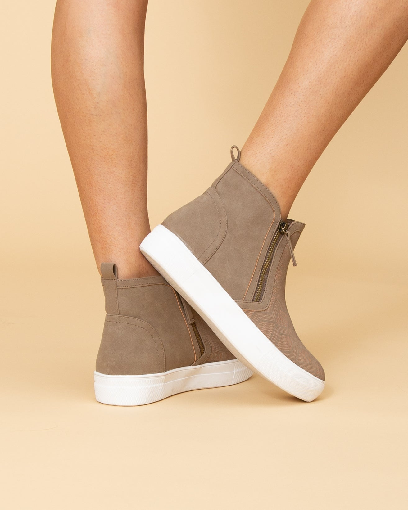 Not Rated Allison Side Zip Slip Ons - Taupe - Eleven Oaks Boutique 2ce930a54