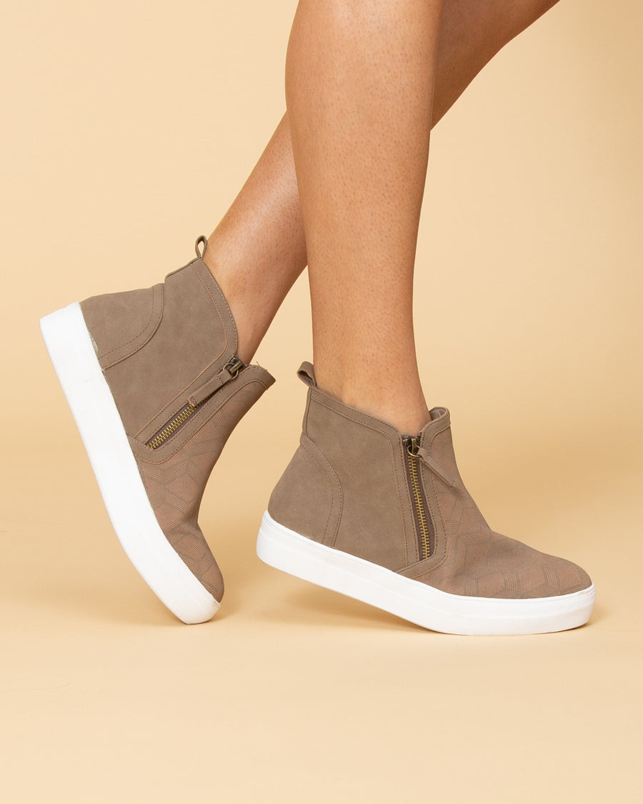 Not Rated Allison Side Zip Slip Ons - Taupe
