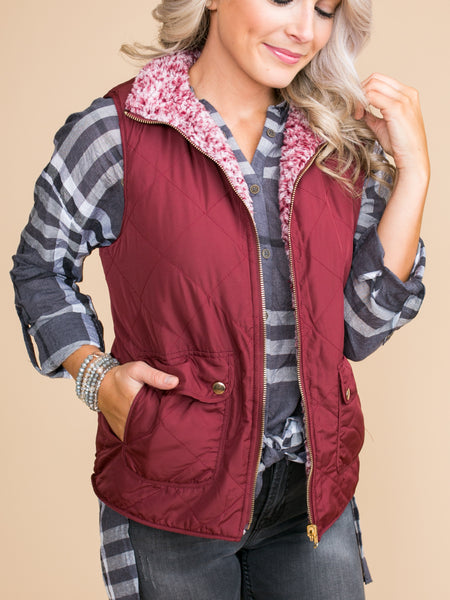 Needing More Reversible Vest - Burgundy