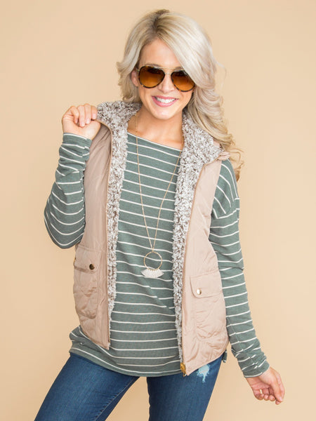 Needing More Reversible Vest - Tan
