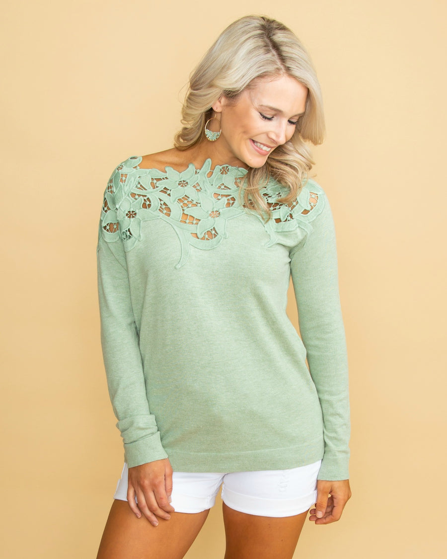 2816285f54cb9 Never Ending Fairytale Lace Sweater - Sage
