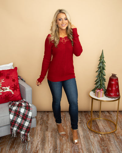 Never Ending Romance Sweater - Cranberry