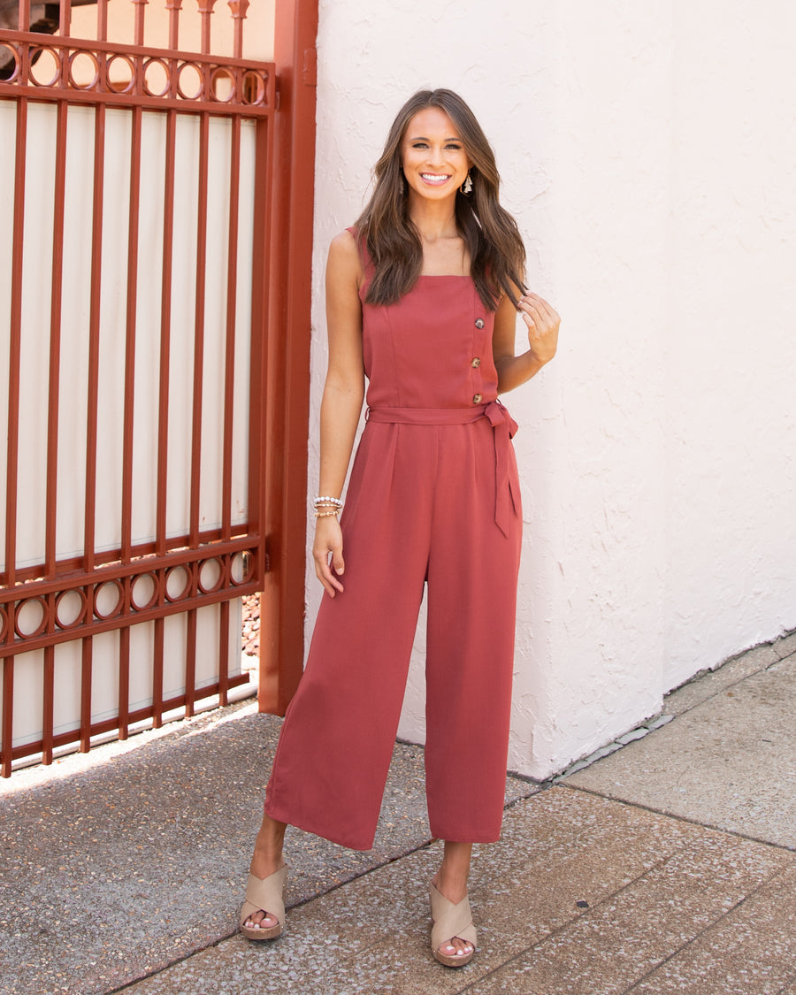 No Second Guessing Jumpsuit - Marsala