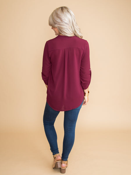 No Inhibitions Top - Burgundy