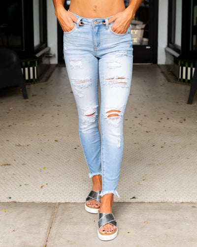 Nola Distressed Skinny Jeans - Light Wash