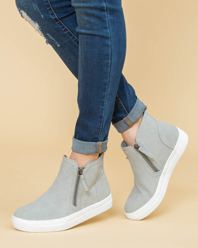 Not Rated Allison Side Zip Slip Ons - Grey