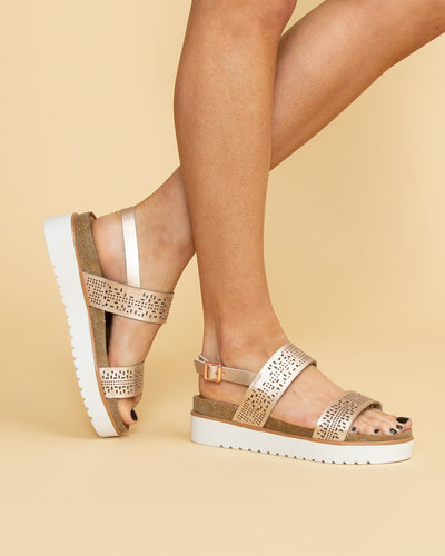 Not Rated Hannah Flatform Cutout Sandal - Champagne