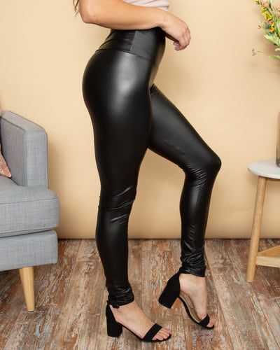 Nothing But Sass Faux Leather Legging - Black