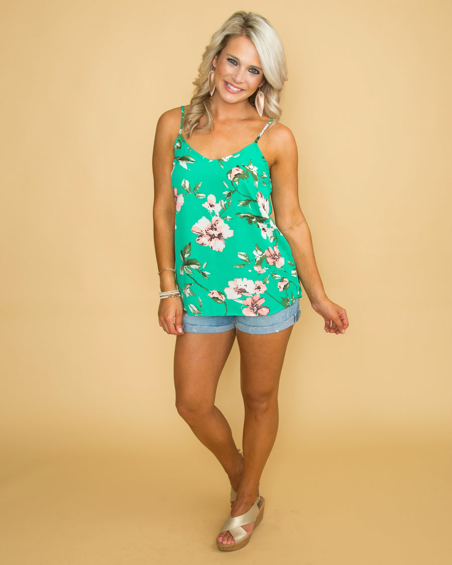 Notice Me Floral Tank - Kelly Green