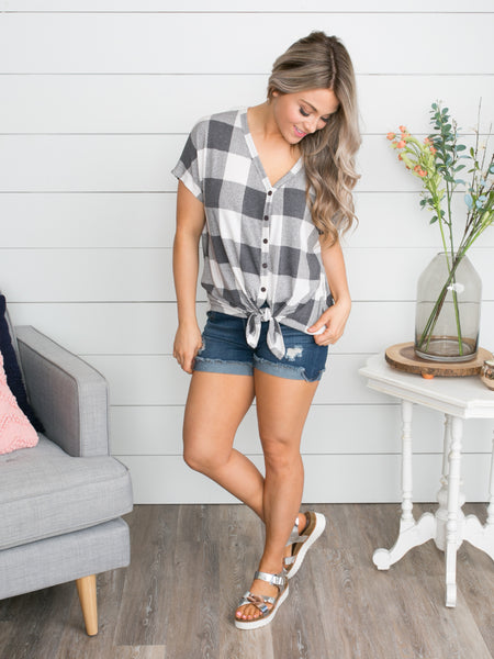 Now Is The Time Plaid Knot Top - Grey
