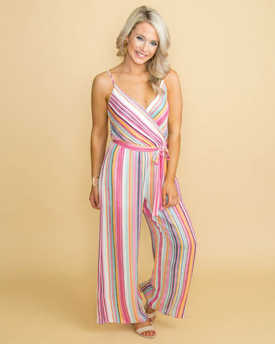 Off To Paradise Stripe Jumpsuit - Pink Multi