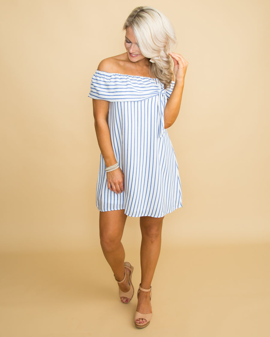Ocean Views Off Shoulder Stripe Dress - Blue/Off White
