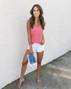 Oceanside V-Neck Tank - Coral