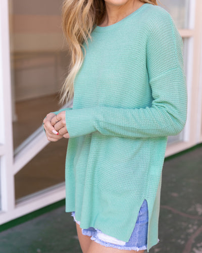 Off On An Adventure Lightweight Sweater - Mint