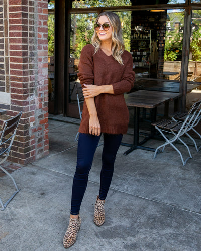 Off The Clock Oversized Sweater - Chocolate