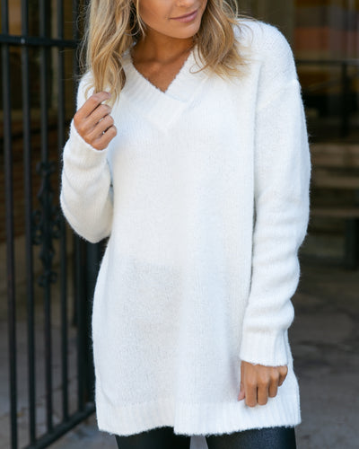 Off The Clock Oversized Sweater - Crisp White