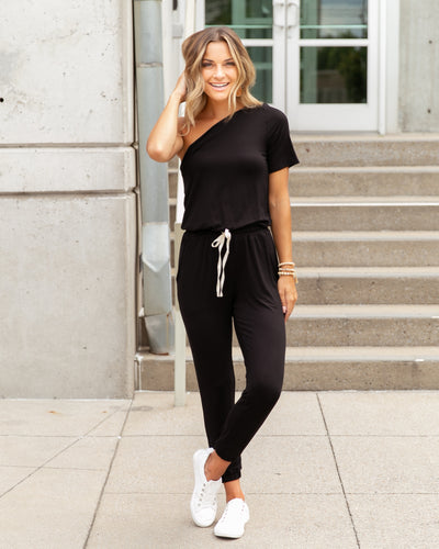 Off To The Races Jumpsuit - Black