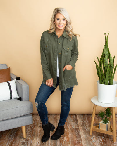 Off Duty Distressed Jacket - Olive