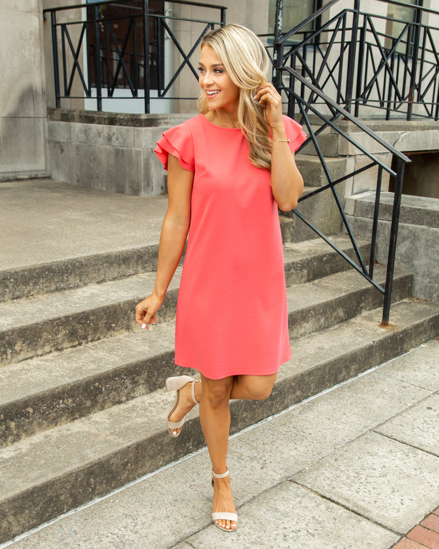 Oh Darling Ruffle Sleeve Dress - Coral