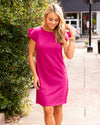 Oh Darling Ruffle Sleeve Dress - Magenta