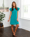 Oh Darling Ruffle Sleeve Dress - Teal